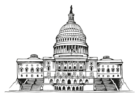 United States Capitol Building vector illustration isolated on white background
