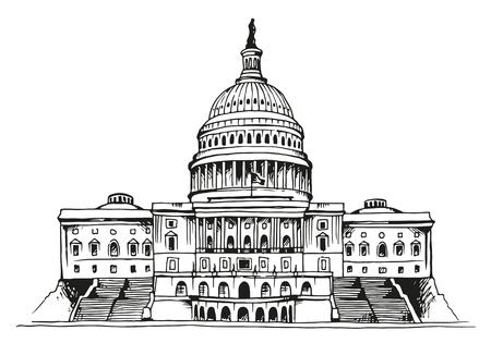 Stati Uniti Capitol Building illustrazione vettoriale isolato su sfondo bianco