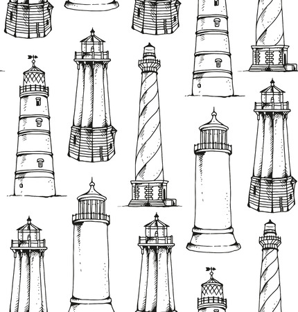 Lighthouses pattern, seamless sea travel vector background