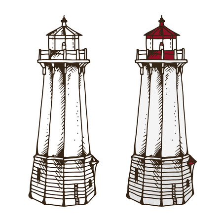 Lighthouse vector illustration isolated on white background Illustration