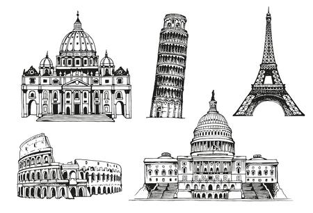 basilica: United States Capitol Building, Eiffel Tower, Tower of Pisa, Coliseum, St. Peters Basilica, world landmark vector set Illustration