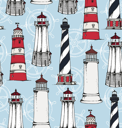 Seamless pattern with hand drawn lighthouses and ship wheels, vector illustration