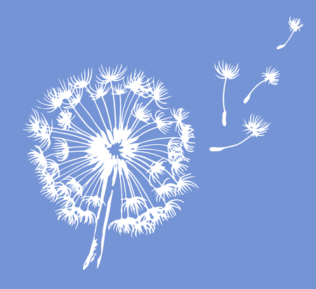 Dandelion vector illustration, blowing in the wind