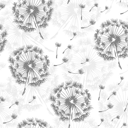 Seamless dandelion pattern, vector seamless background with hand drawn plant and seeds