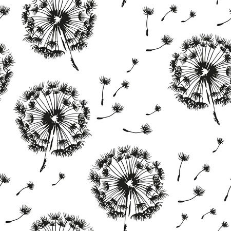 Dandelion and seeds blowing in the wind seamless pattern, vector black and white background