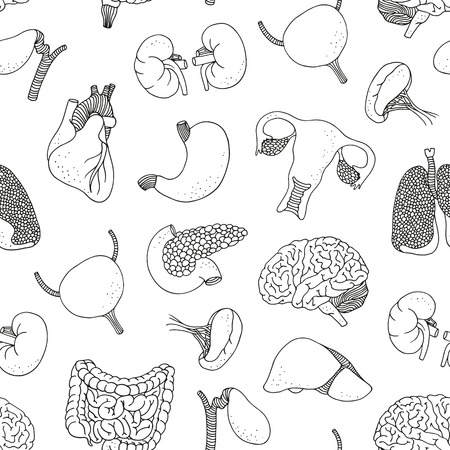 Seamless background with human organs, medical pattern