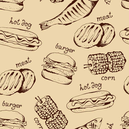 Fast food and barbecue seamless pattern, grill vector beige background, food ingredients collection with text, hot dog, hamburger, meat, corn
