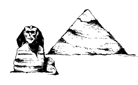 Sphinx and Pyramid of Cheops, egyptian architecture vector illustration isolated on white background
