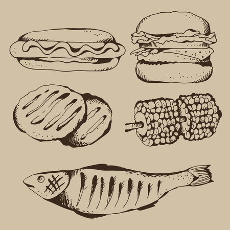 Fast food and barbecue vector set on beige background, food ingredients collection