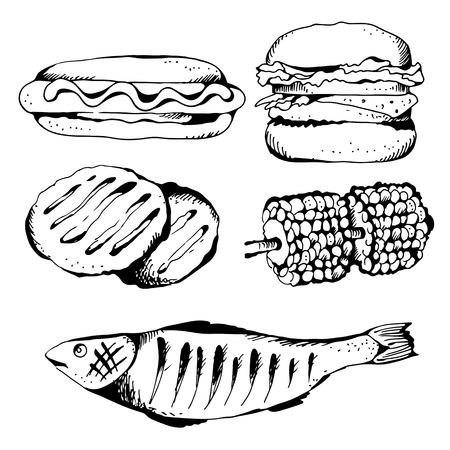 Barbecue set, hotdog, burger, sweetcorn, fish, vector set isolated on white background