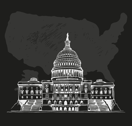 United States Capitol Building, vector hand drawn illustration