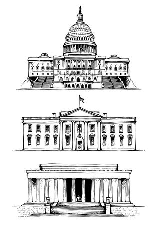 アメリカ合衆国議会議事堂やワシントン記念塔、ホワイトハウスはベクトル イラストです。米国ベクトル ランドマーク設定上分離ホワイト バック   イラスト・ベクター素材