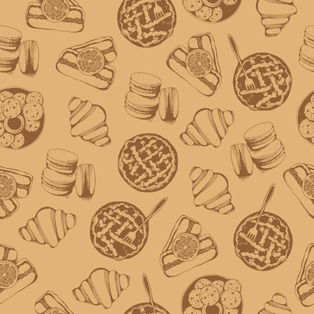 Bakery, sweet pastry vector seamless pattern, hand drawn vector beige food background