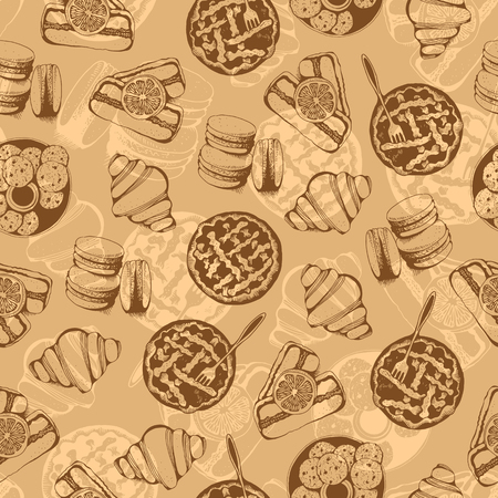 Bakery, sweet pastry vector seamless pattern, hand drawn vector beige background