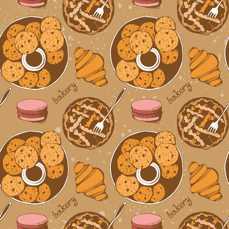 Bakery, sweet pastry vector seamless pattern, hand drawn vector background with text