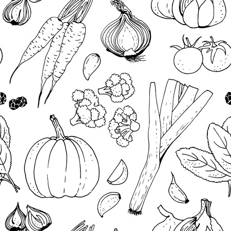 Vegetable vector seamless pattern, hand drawn background
