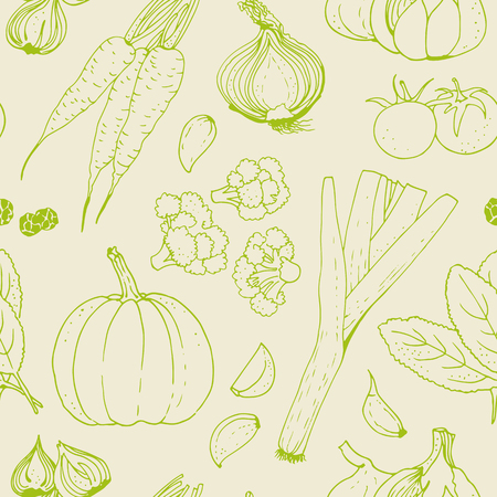 Vegetable vector seamless pattern, hand drawn food background with: tomato, carrot, pumpkin, onion, broccoli, leek, garlic, herbs Ilustrace