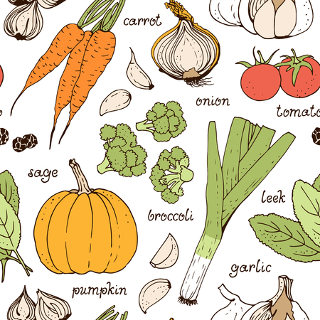 Vegetable vector seamless pattern, hand drawn food background with: tomato, carrot, pumpkin, onion, broccoli, leek, garlic, herbs Illustration