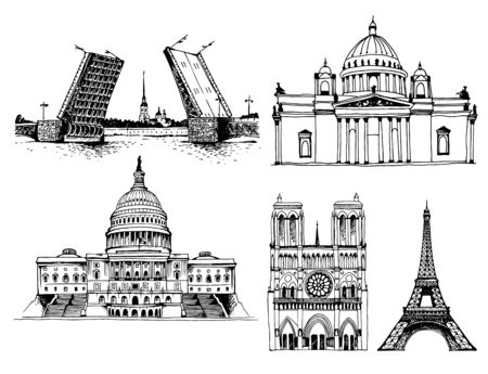 Palace Bridge, Peter and Paul Fortress and Saint Isaac's Cathedral, United States Capitol Building, Notre Dame de Paris Cathedral and Eiffel Tower. Vector world landmarks isolated on white background