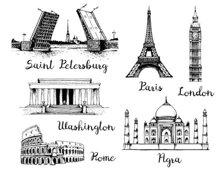 Landmarks of the world. Palace Bridge and Peter and Paul Fortress in Russia, Eiffel Tower in France, Elizabeth Tower (Big Ben) in England, White House and Lincoln Memorial in USA, Taj Mahal in India Illustration