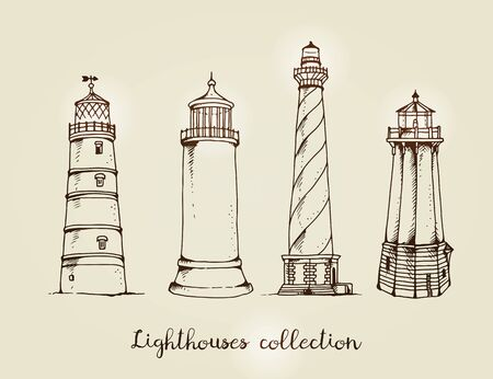 Vector set of lighthouses isolated on beige background Stok Fotoğraf - 130888481