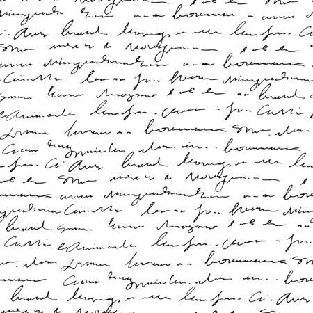 Handwritten abstract text seamless pattern, vector monochrome script background Ilustração