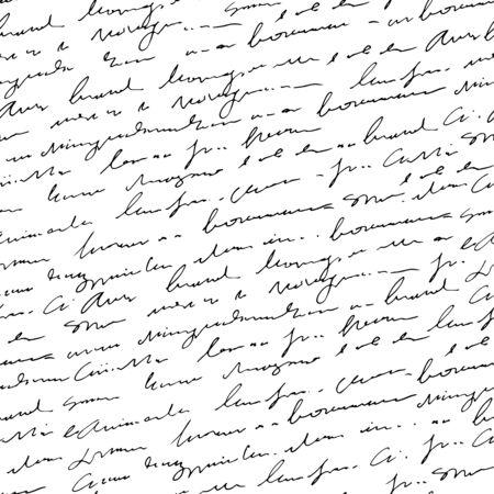 Handgeschreven abstracte tekst naadloze patroon, vector zwart-wit script achtergrond