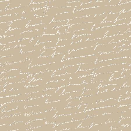 Handwritten abstract text seamless pattern, vintage beige vector script background