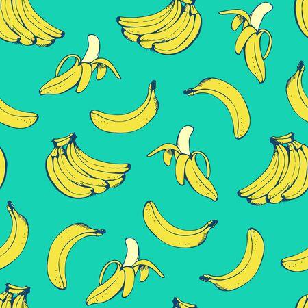 Banana seamless pattern, vector background with yellow bananas for Hawaiian shirt