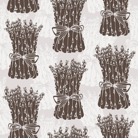 Asparagus vector seamless pattern, hand drawn vegetable background