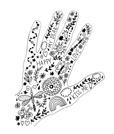 Decorative design with vector hand and floral elements, flowers and leaves, love card doodle set in hand drawn style isolated on white background