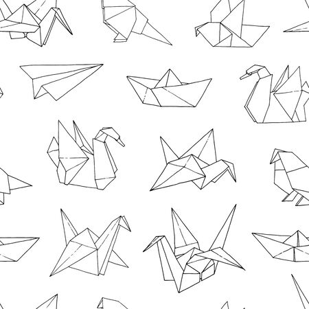 Origami shapes vector seamless pattern, hand drawn folder paper japan art animals, birds, boats, ships, planes background