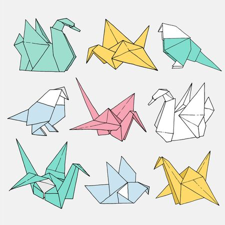 Origami birds shapes vector set, hand drawn folder paper art color animal illustration isolated on light background: crane, swan, dove, parrot