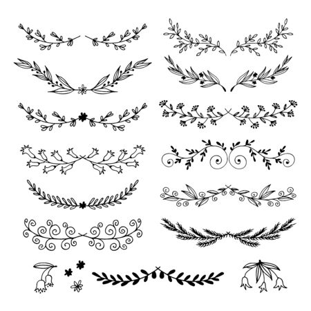 Floral doodle set in sketch style, vector hand drawn botanical illustration isolated on white background