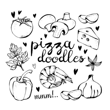 Pizza ingredients doodles, vector set isolated on white background