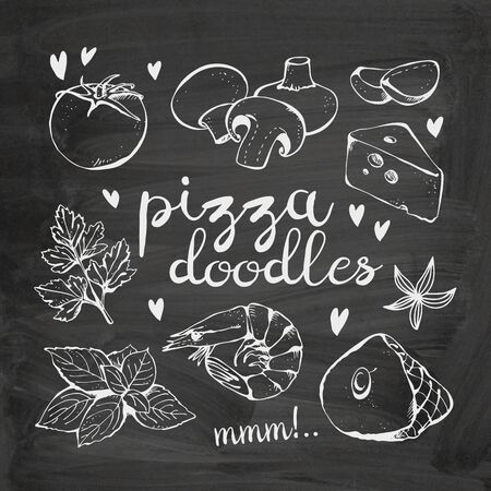 Pizza ingredients doodles, vector collection on chalkboard background