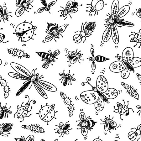 Insects doodle seamless pattern, vector background with bug, fly, butterfly, ladybug, dragonfly, wasp, centipede