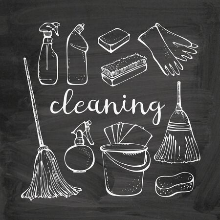 Cleaning service tools vector set isolated on chalkboard background, housework collection
