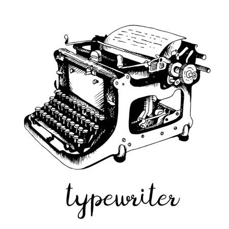 Typewriter hand drawn sketch, vector illustration isolated on white background