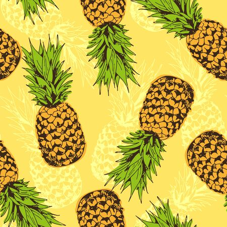 Pineapple vector seamless pattern, tropical background