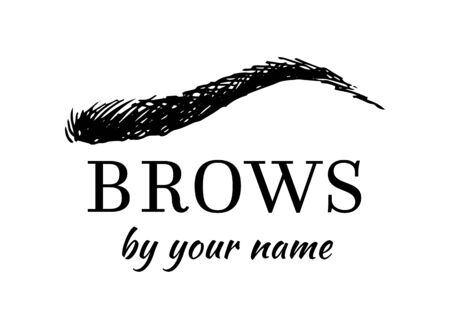 Eyebrow shape vector logo, female brow drawing for beauty studio, design isolated on white background Иллюстрация