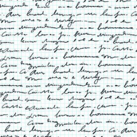 Handwritten abstract text seamless pattern, vector monochrome script on notebook sheet background