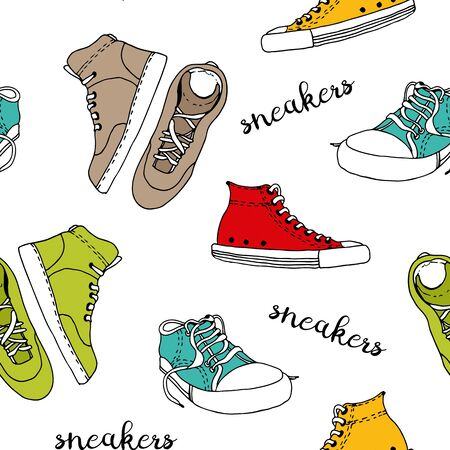 Sneakers sketch vector seamless pattern, active shoes isolated on white background