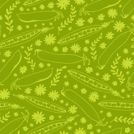 Green peas seamless pattern, hand drawn vector sketch and doodle flowers isolated on green background