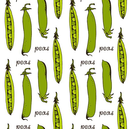 Green peas seamless pattern, hand drawn vector sketch isolated on white background
