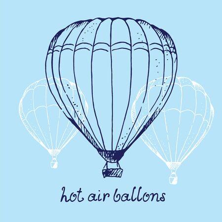 Hot air ballons hand drawn vector illustration, isolated on blue sky background Vektoros illusztráció