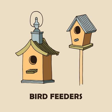 Bird feeders vector illustration, hand drawn illustration isolated on beige background