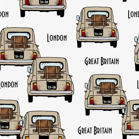 Beige old cars vector seamless pattern, hand drawn retro automobiles on white background with text