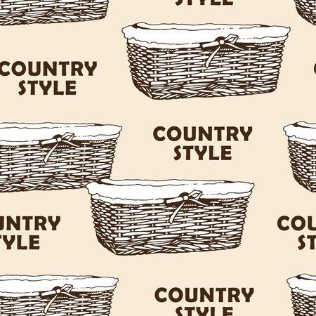 Wicker basket sketch vector seamless pattern, hand drawn square basket isolated on white background