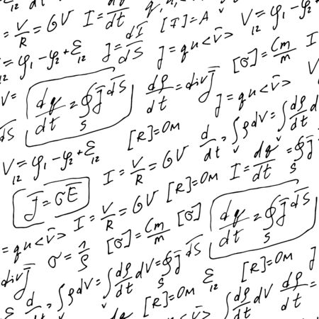 Physics formulas handwritten vector pattern, abstract seamless background, hand drawn equations isolated on white background, scientific, education backdrop